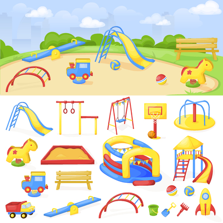Playground park cartoon vector, fun play kid kindergarten illustration. Child outdoor equipment. Childhood leisure summer playful recreation ground baby amusement.