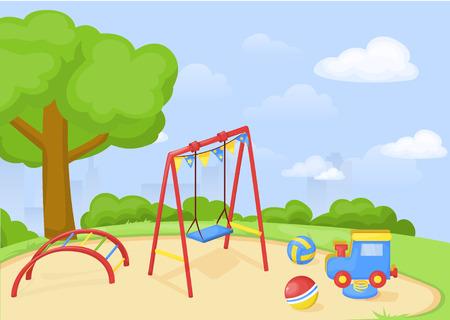Playground park cartoon vector, fun play kid kindergarten illustration. Child outdoor equipment. Childhood leisure summer playful recreation ground baby amusement.