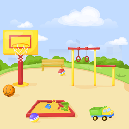 Playground park cartoon vector fun play kid kindergarten illustration child outdoor equipment. Childhood leisure summer playful recreation ground baby amusement. Illustration