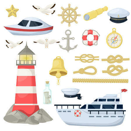 Nautical navy boats, anchor, wheel marine and ocean theme design elements set for baby showers, birthdays, invitations vector illustration. Sea nautical rope sailboat lighthouse decoration