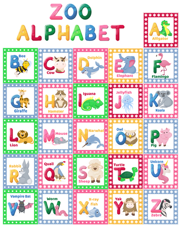 Zoo alphabet animal letters cartoon cute characters isolated different educational vector english abs kid letter illustration.