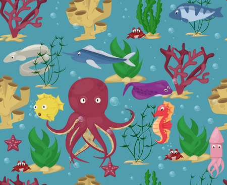 Sea animals seamless pattern background vector water plants ocean fish cartoon illustration undersea water marine aquatic character life. Underwater wildlife tropical coral.