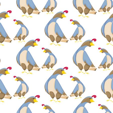 Quail bird pattern vector flat seamless background little hen design illustration. Healthy rural zoo kid fabric wildlife beautiful character design.