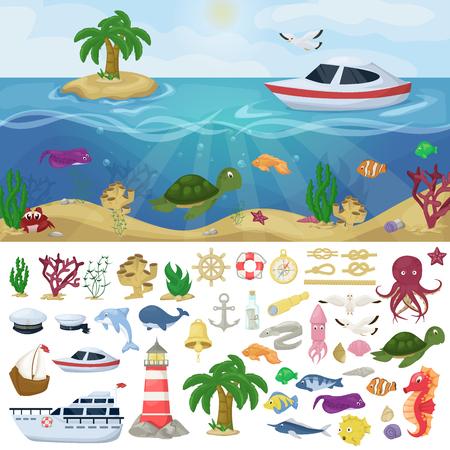Nautical navy boats marine ocean sea animals vector water plants ocean fish cartoon illustration