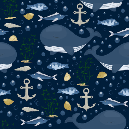 Humpback whale character seamless pattern background. Sea marine mammal ocean nature water animal vector illustration. Endangered species wildlife.