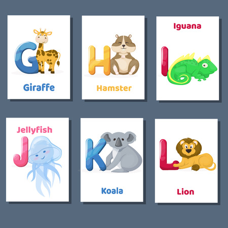 Alphabet printable flashcards vector collection with letter G H I J K L. Zoo animals for english language education.
