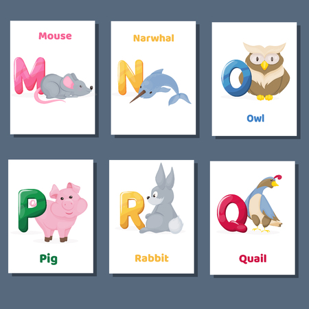 Alphabet printable flashcards vector collection with letter M N O P Q R. Zoo animals for english language education. Illustration