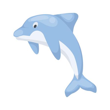 Dolphin vector illustration sea water mammal ocean blue nature animal. Wildlife aquatic marine character. Underwater swimming fish.