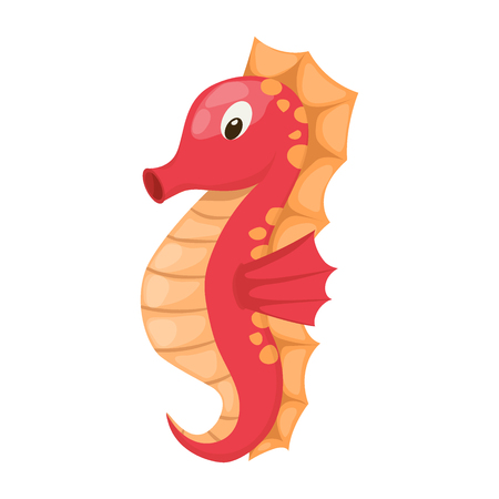 Seahorse isolated vector illustration cartoon ocean animal. Marine underwater fish tropical water aquarium sea horse character. Exotic zoo hippocampus. Illustration