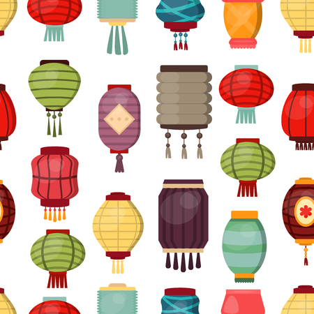 Chinese lantern seamless pattern background vector traditional china culture festival celebration asia oriental decoration illustration