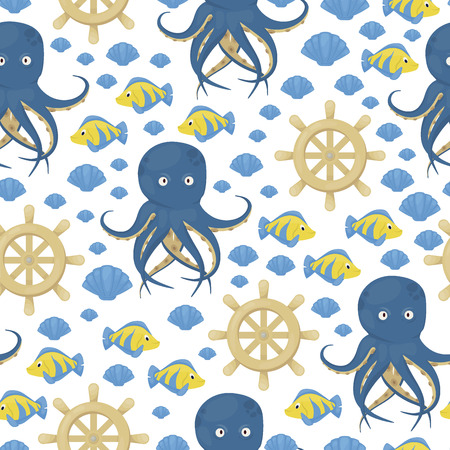 Octopus tentacles vector sea animal seamless pattern background squid marine water seafood ocean fish vector illustration. Aquatic underwater cuttlefish monster character.