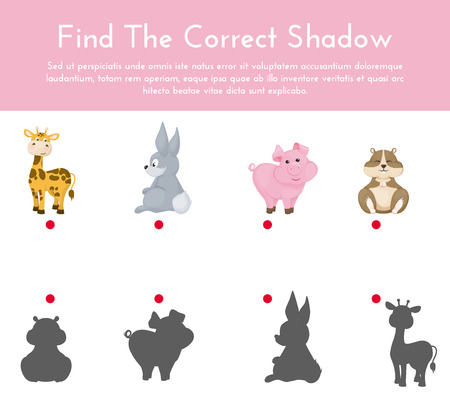 Animals and their shapes shadow matching game vector illustration. Kindergarten worksheets. Shadow matching game, activity page for kids. Education learning children puzzle.