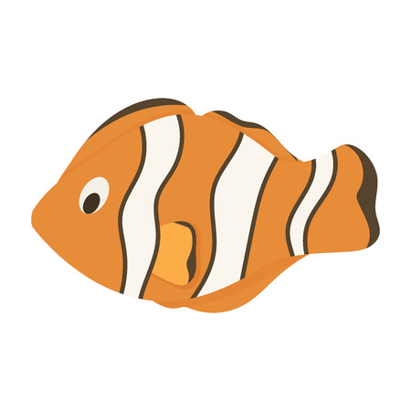 Nemo fish clownfish marine anemone sea animal vector illustration. Underwater ocean clown orange fish. Aquarium ocellaris anemonefish character. Illustration