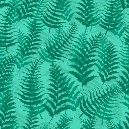Fern seamless pattern exotic background nature green leaf plant vector illustration. Summer emerald wallpaper tropical botanical textile forest foliage fabric design. Vecteurs