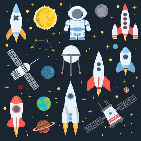 Rocket space globe solar system and planet cosmos sky vector illustration. Flight spacecraft astronaut exploration travel shuttle. Cosmonaut spaceman transportation rocketship. Stock Illustratie