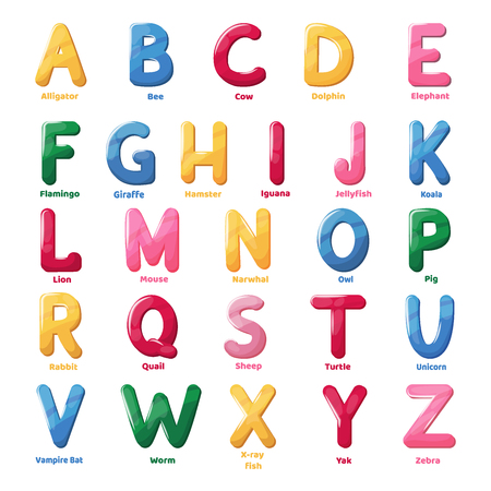 Abs font jelly alphabet for kids isolated letter text vector illustration.
