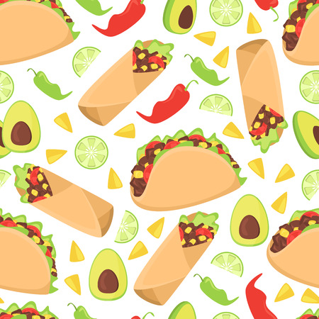 Mexican food seamless pattern fresh chili nachos vector illustration. Traditional mexico culture spicy burrito background. Tasty latin meal lunch wallpaper cooking cuisine.