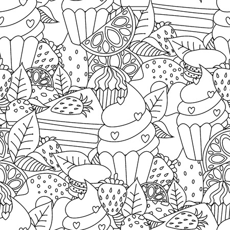 Coloring book hand drawn outline artwork page vector illustration.