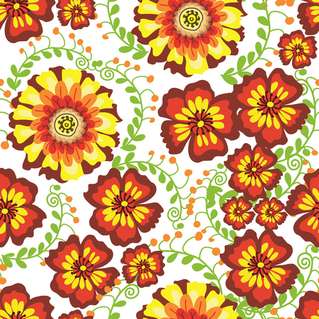 Flowers seamless pattern vector illustration green leaves fabric blossom print. Sketched flowered print in bright color background. Spring or summer textile wallpaper. Vectores