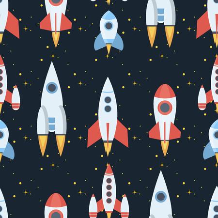 Rocket space globe solar system and planet cosmos sky seamless pattern background vector illustration. Flight spacecraft astronaut exploration travel shuttle. Cosmonaut spaceman ocketship.