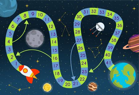 Il gioco da tavolo con il percorso del blocco le persone giocano la sfida del percorso del passo pronto per stampare l'illustrazione vettoriale del modello. Bambini colorati mappa gioco da tavolo puzzle scienza e spazio.