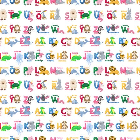 Zoo animals alphabet seamless pattern abc vector background cute cartoon wild characters illustration. Creative kids texture for fabric, wrapping, textile wallpaper, apparel vector illustration.