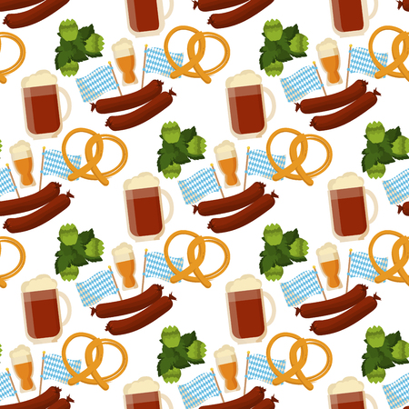 Oktoberfest vector seamless pattern alcohol party background design. October fest beer festival holiday repeating print. Greeting traditional bavarian german decoration. Çizim