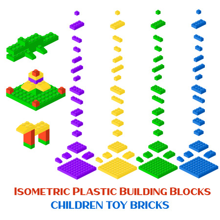 Isometric constructor blocks 3d preschool build cubic vector illustration. Cube brick and block, 3d child toy isometric, geometric plastic construction. Plastic game building blocks Illustration