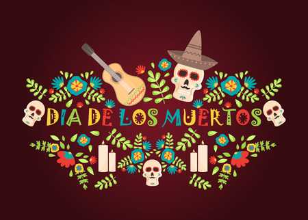 Day of the dead poster, Mexican dia de los muertos sugar skull holiday vector illustration. Mexico party skeleton traditional festival. Spooky halloween poster. 矢量图像