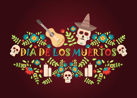 Tag des toten Plakats, mexikanische Dia de los Muertos Zuckerschädel-Feiertagsvektorillustration. Traditionelles Festival des mexikanischen Parteiskeletts. Gruseliges Halloween-Plakat.
