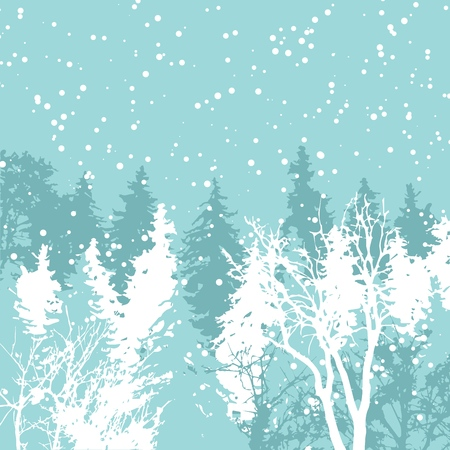Christmas card xmas winter forest greeting decoration holiday vector illustration. Cold snow trees frost landscape. Snowy pine ice park.