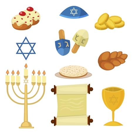 Judaism church traditional symbols jewish hanukkah vector illustration. Banco de Imagens