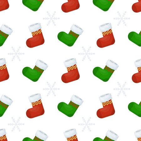 Christmas stocking seamless pattern winter sock holiday gift wrap background vector illustration. Xmas wrapping wallpaper festive paper or fabric. Standard-Bild - 127471716