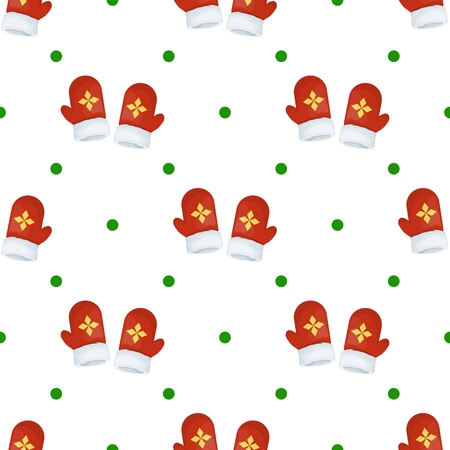 Christmas mitten seamless pattern winter holiday gift wrap background vector illustration. Xmas wrapping wallpaper festive paper or fabric.