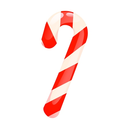 Xmas candy cane isolated vector illustration greeting card on Christmas and New Year. Peppermint striped sweet dessert holiday stick sugar.