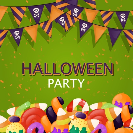 Halloween background trick or treat sweets food party vector illustration. Autumn spooky scary invitation. Mystery fear poster. Horror evil party. Allhallows Eve. Saints Day Ilustração