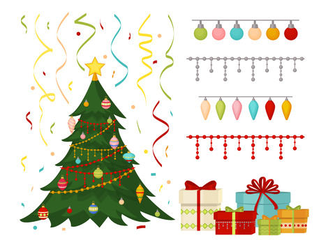 Christmas tree with fir gifts balls lights winter holiday gift card merry xmas celebration happy new year decoration vector illustration. Traditional party holiday garland with confetti stars present.