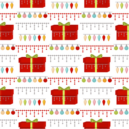 Christmas seamless pattern Merry Christmas and Happy New Year winter holiday background decorative paper vector illustration. Festive textile xmas abstract wrapping greeting ornament.