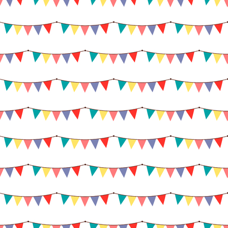 Birthday party vector celebratory seamless pattern with garlands balloons holiday confetti hearts surprise carnival background decoration. Fun greeting wallpaper anniversary festive birthday event.