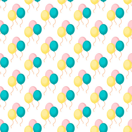 Birthday party vector celebratory seamless pattern with garlands holiday confetti balloon surprise carnival background decoration. Fun greeting wallpaper anniversary festive birthday event.