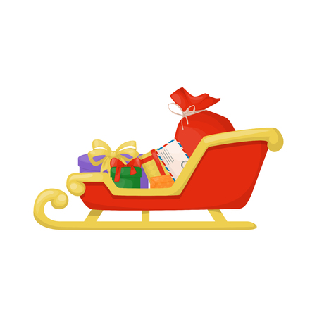 Christmas santa sleight with presents winter gift holiday present traditional sledge vector illustration.