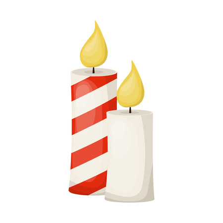 Golden candle on white background for concept design. Hanukkah candles vector illustration. Xmas greeting. Candle flame warm fire light.