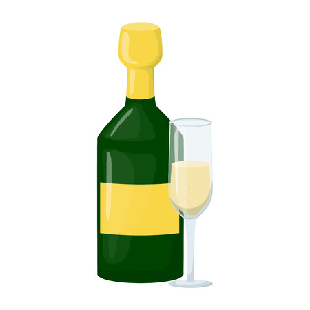 Champagne bottle with wine glass toast, cheers vector illustration. New year champagne 2019. Alcohol, splash, beverage. Christmas, new year party. Alcohol drink wine bottle vector. Ilustração