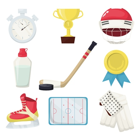 Hockey players shoot puck and attacks winter sports ice skating equipment vectorillustration. Professional goal skate game playing. Hockey puck, water bottle, gold cup, helmet stopwatch, field. Ilustração