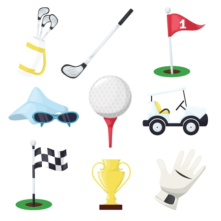 Golf sport equipment club stick, ball and hole on tee or cart car on green course for championship or tournament vector illustration. Golf stick, ball, glove, flag, car and bag. Ilustração
