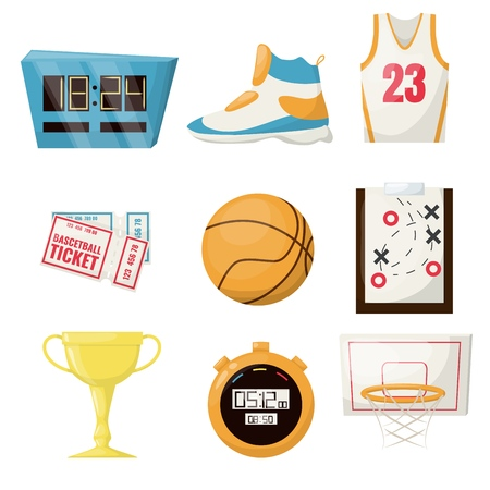 Basketball sports game ball vector illustration basket ball competition equipment. Professional court leisure team activity championship. Stopwatch, ticket shoe gold cup hoop game plane. Ilustração