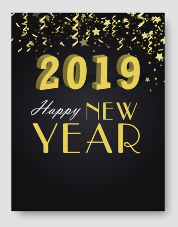 New Year 2019 card and Merry Christmas holiday invitation background concept. Happy New Year 2019 text design. Vector greeting card illustration with golden numbers and snowflakes.