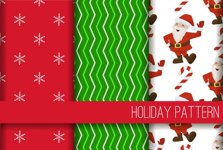 Christmas santa candy cane seamless pattern winter holiday gift wrap background vector illustration. Xmas wrapping wallpaper festive paper or fabric.