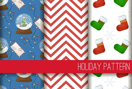 Christmas stocking seamless pattern winter sock holiday gift wrap background vector illustration. Xmas wrapping wallpaper festive paper or fabric.
