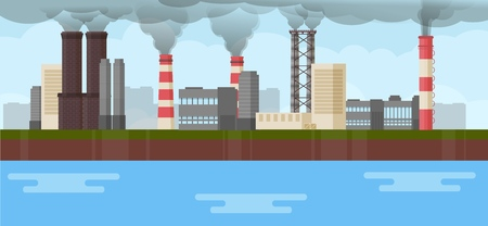 Air industrial pollution environmental issues smoke chimney industry vector illustration. Global pipe toxic dirty smog. Factory smokestack. Chemical industrial production, pollution. Smoke cityscape. Ilustração